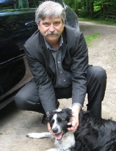 Author Michael McCann with his dog, Cody